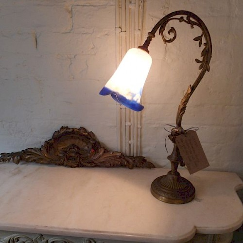 Antique French Bronze Reading Light. Late 19th Century