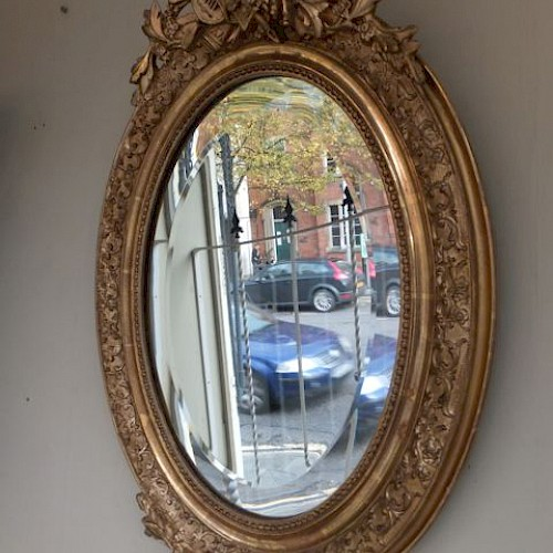 Small French Antique Oval Mirror