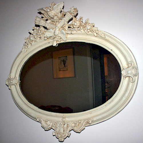 French Oval Painted Mirror. 1900