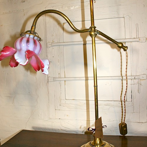 French Brass Desk Lamp with Pink Glass Shade