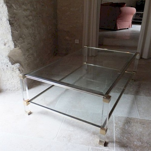 Pierre Vandel Paris Two Tier Glass and Lucite Coffee Table 1970