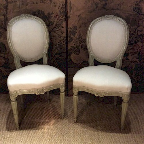 A Pair of Upholstered French Antique Chairs - Sold French Antiques Maxine Whittaker