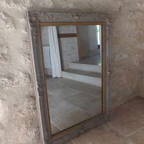 French Antique Painted Mirror With Original Mercury Glass