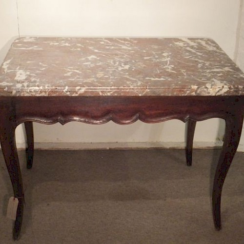 French Antique Oak Marble Top Table