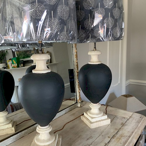 A Pair of French Travertine Stone Lamps (1970's)